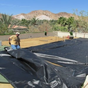 geo textile fabric layout for rooftop putting installation